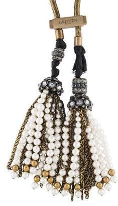 Lanvin Faux Pearl & Crystal Metropolis Lariat Necklace