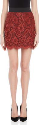 Dolce & Gabbana Brick Red Lace Mini Skirt