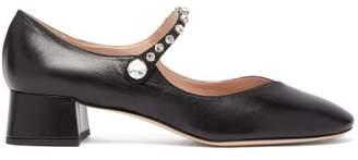 Miu Miu Crystal Embellished Leather Mary Jane Pumps - Womens - Black