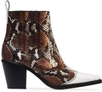 Ganni caramel Lovina 70 leather ankle boots