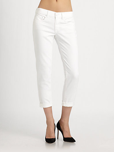 Vince Solid Roll-Cuff Cropped Jeans