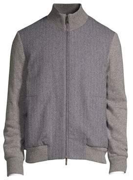 Corneliani Herringbone Bomber Jacket