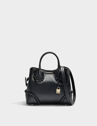 MICHAEL Michael Kors Mercer Gallery Small Center Zip Satchel Bag in Black Polished Leather