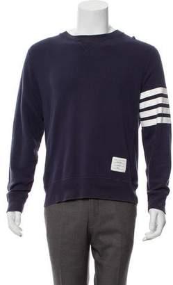 Thom Browne 4-Stripe Trimmed Knit Crew Neck Sweater