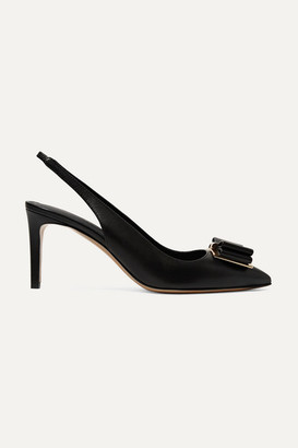 Salvatore Ferragamo Zahir Bow-embellished Textured-leather Slingback Pumps - Black