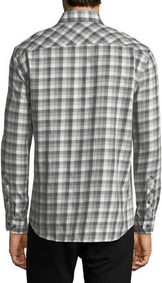 Jared Lang Button-Down Check Cotton Shirt