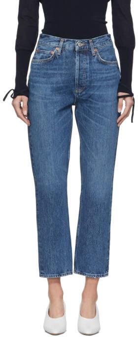 Agolde Blue Riley Hi Rise Straight Crop Jeans