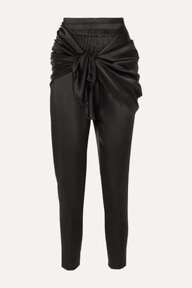 Nackiyé - Hammam Draped Stretch-silk Satin Tapered Pants - Black