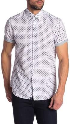 Stone Rose Bowler Hat Print Short Sleeve Shirt