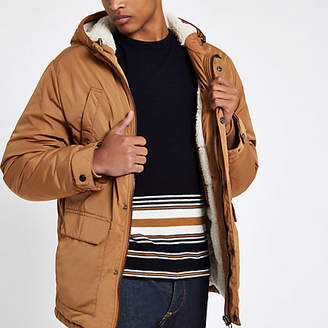 River Island Light brown hooded fleece lined jacket