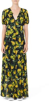 Marc Jacobs Short-Sleeve Pear-Print Maxi Shirtdress