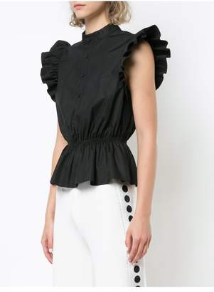 ADAM by Adam Lippes Cotton Poplin Peplum Top With Ruffle Sleeve