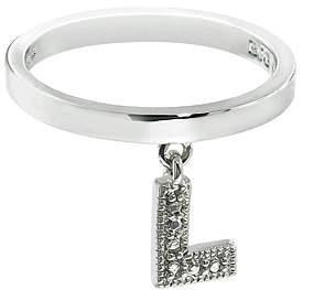Silvertone 'L' Charm Ring