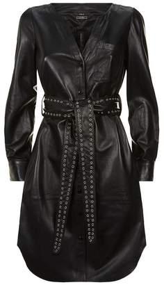 SET Belted Leather Dress