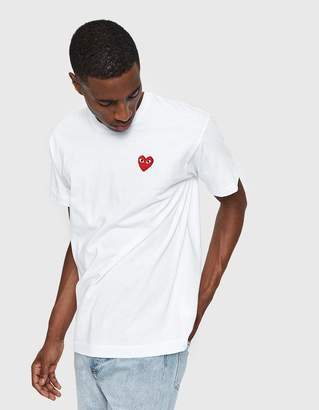 Comme des Garcons Play Red Heart Tee in White
