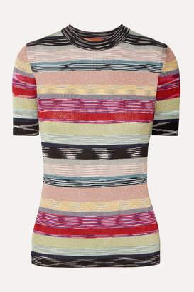 Missoni Striped Metallic Crochet-knit T-shirt - Blush