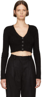 Opening Ceremony Black Angora Cropped Rib Cardigan