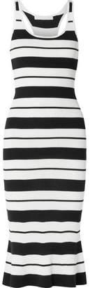 Jason Wu Striped Ribbed Silk-blend Midi Dress - White
