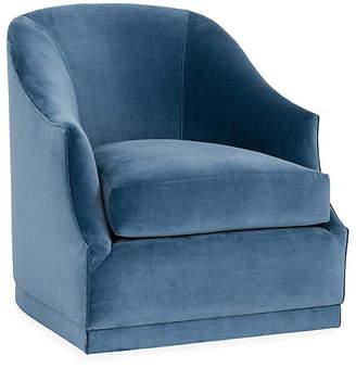 One Kings Lane Brooke Swivel Glider Chair - Harbor Blue Velvet