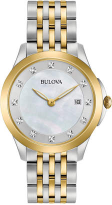 Bulova Women's Diamond Accent Two-Tone Stainless Steel Bracelet Watch 36mm 98P161