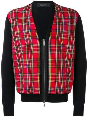 DSQUARED2 plaid zip-up cardigan