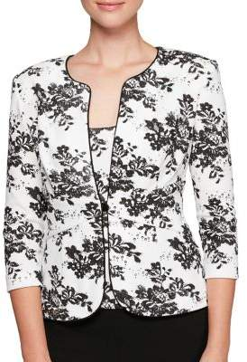Alex Evenings Plus 2-in-1 Printed Quarter-Sleeve Jacket and Tank Top