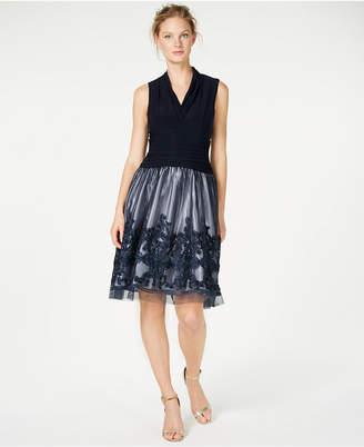 SL Fashions Illusion Soutache-Trim Party Dress
