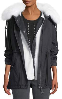 Derek Lam 10 Crosby Oversized Parka Coat w/ Fur Trim