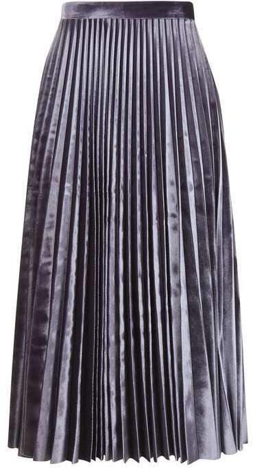 TopshopTopshop Velvet pleat midi skirt