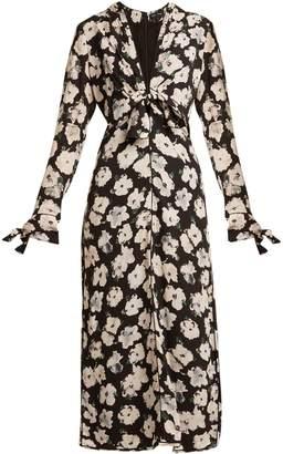 Proenza Schouler Floral-print V-neck silk-crepe midi dress