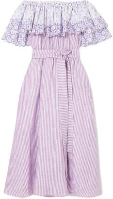 Gül Hürgel Off-the-shoulder Broderie Anglaise-trimmed Striped Linen Dress
