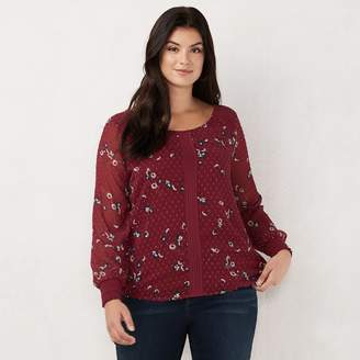 Lauren Conrad Plus Size Chiffon Sleeve Top