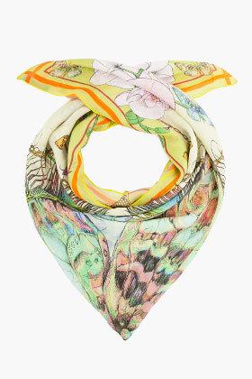 MATTHEW WILLIAMSON Silk Butterfly Floral Print Scarf