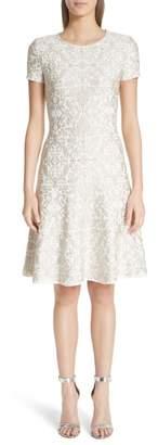 St. John Gold Leaf Brocade Fit & Flare Dress