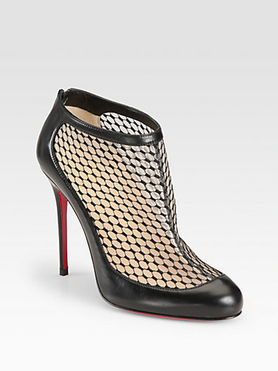 Christian Louboutin Anna May Lace & Leather Ankle Boots