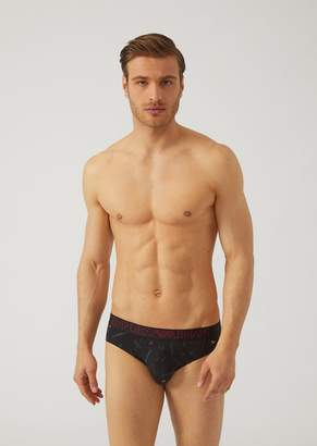 Emporio Armani Fancy Briefs In Stretch Cotton With Elastic Waistband And All-Over Logo.