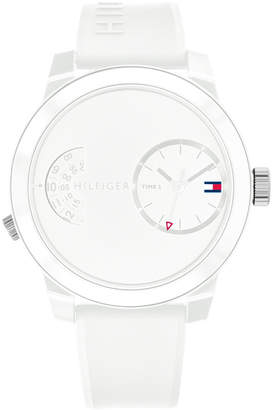 Tommy Hilfiger Men's White Silicone Strap Watch 44mm