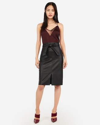 Express High Waisted Vegan Leather Sash Tie Patch Pocket Pencil Skirt