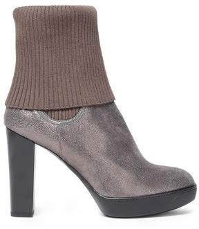 Hogan Ribbed-Paneled Metallic Textured-Leather Ankle Boots