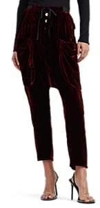 Taverniti So Ben Unravel Project Women's Drop-Rise Velour Cargo Pants - Wine