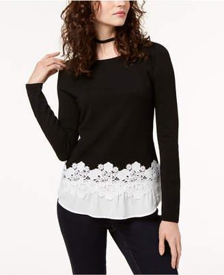 Alfani I.n.c. Petite Contrast Lace-Hem Top, Created for Macy's