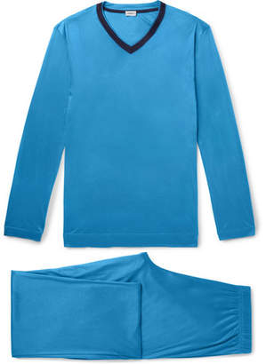 Zimmerli Contrast-Trimmed Lyocell Pyjama Set - Blue
