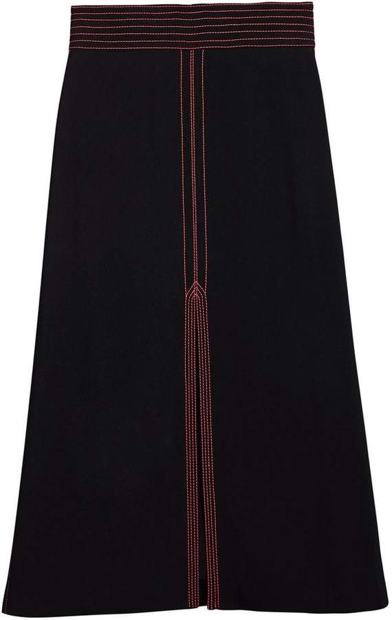 Burberry topstitch detail skirt