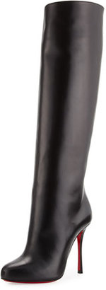 Christian Louboutin Vitish Leather 100mm Red Sole Knee Boot, Black $1,395 thestylecure.com