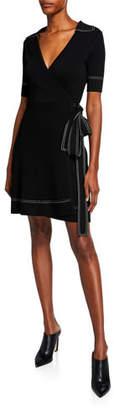 Diane von Furstenberg Liv Short-Sleeve Wrap Dress w/ Topstitching