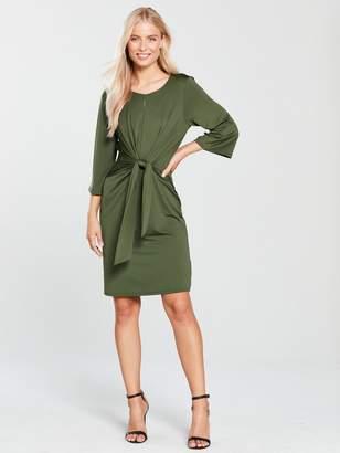 Wallis Tie Front Jersey Dress - Khaki