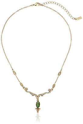Belle Epoque Downton Abbey Gold-Tone Crystal Emerald Navette Drop Pendant Necklace