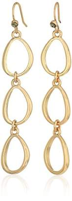 Kenneth Cole New York Scattered Pave Gold Tone Linear Drop Earrings