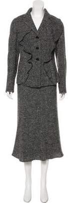 Armani Collezioni Textured Notch-Lapel Skirt Suit Grey Textured Notch-Lapel Skirt Suit