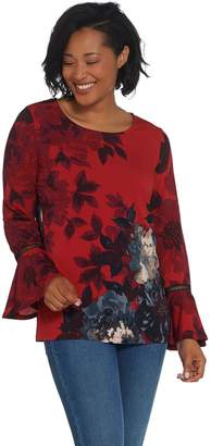 Susan Graver Printed Liquid Knit Top with Bell Sleeves
